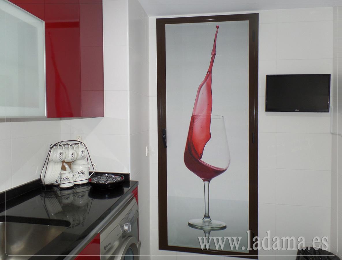 Panel fotogr fico para puerta de cocina la dama decoraci n for Estores japoneses baratos