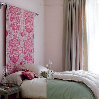 Cabecero de tela de tapicería colgada en barra