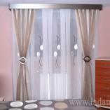 Cortinas de fuelles para dormitorio con dobles cortinas, abrazaderas y galería de acero
