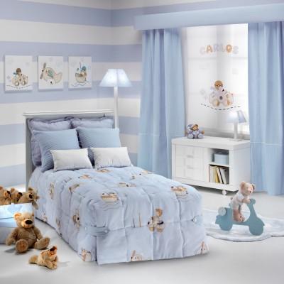 Telas para cortinas infantiles y ropa de cama. Habitación de niño con colección Austin