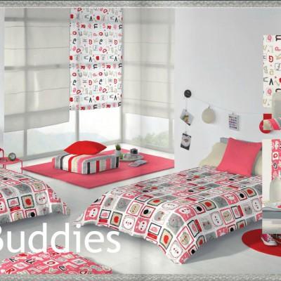 Dormitorio de Niña decorado con las Telas Infantiles Estampadas de la Colección Buddies