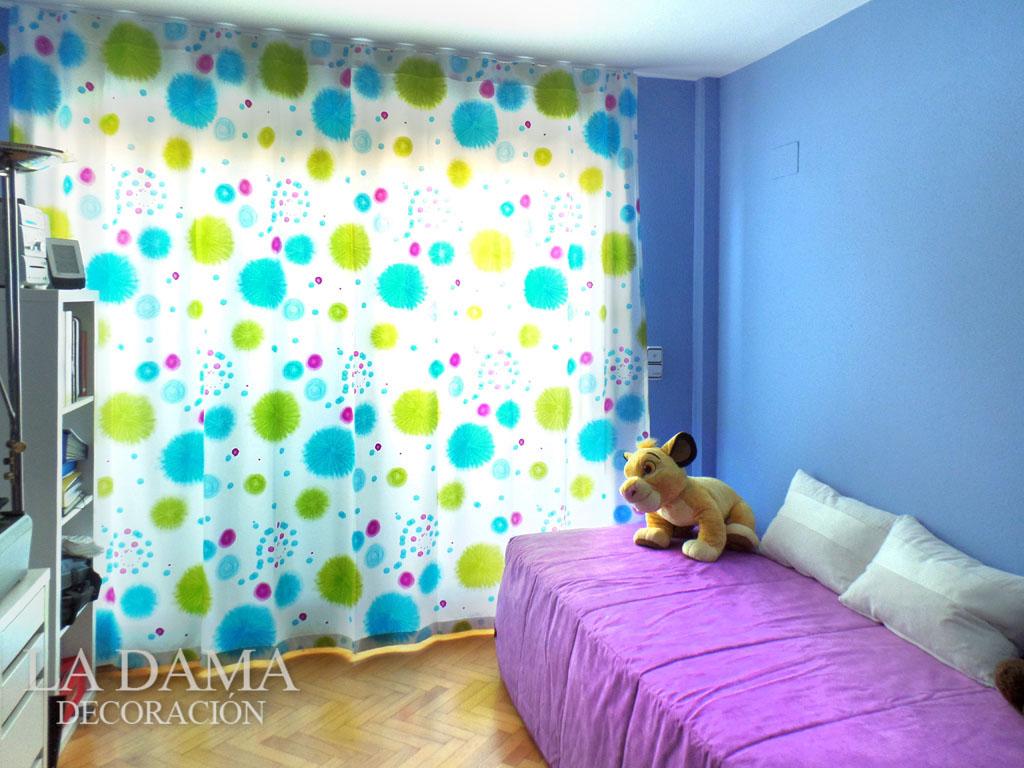 cortina de habitacin infantil azul y verde