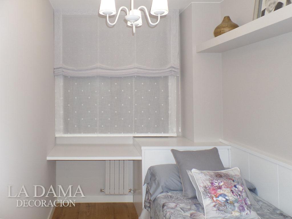 Doble estor blanco habitaci n juvenil la dama decoraci n - Estores para habitacion de bebe ...