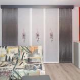 Panel Japones Bordado salón moderno gris y rojo