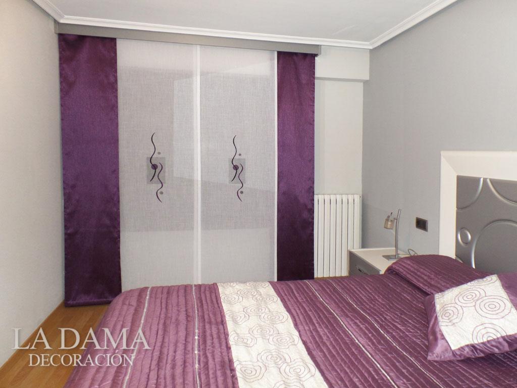 Paneles japoneses bordados en zaragoza for Dormitorio granate