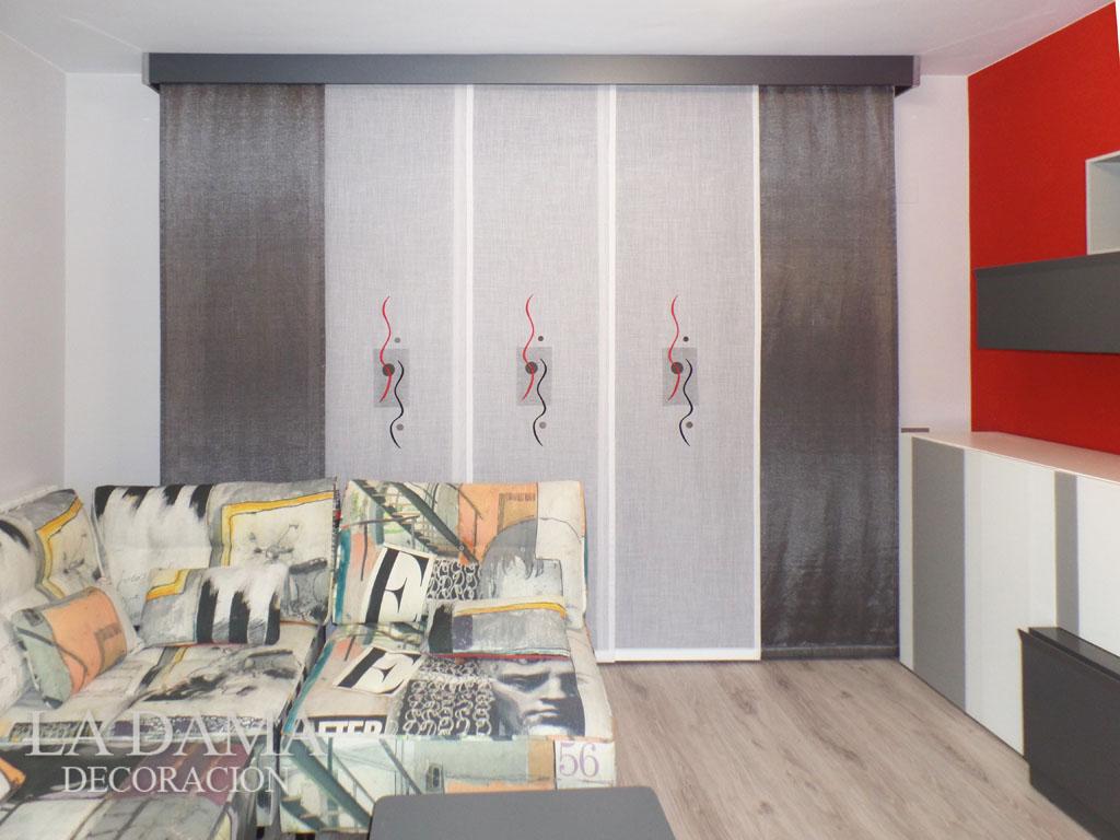 Tendencia cortina panel japon s la dama decoraci n - Cortinas de paneles japoneses ...