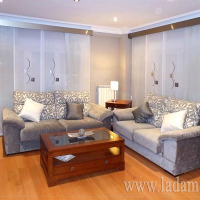 Paneles Japoneses Bordados combinados con lisos y galerías titanio