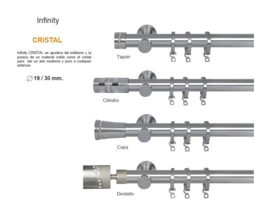 Barras para Cortina. Colección Infinity Cristal