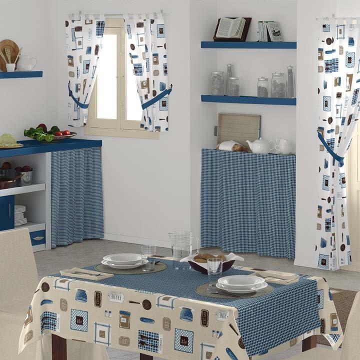 Cocina decorada con telas y cortinas de la colección Cuisine