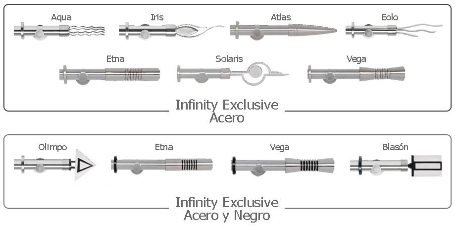 Barras de Cortina en Acero. Colección Infinity Exclusive