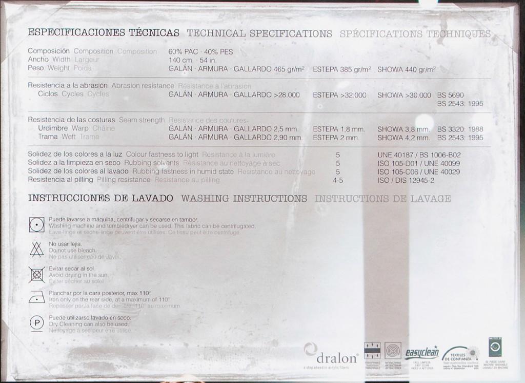 ESPECIFICACIONES TÉCNICAS TEJIDO PASARELA