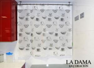 Cortina estampada con barra para cocina la dama decoraci n for Simulador de cocinas online