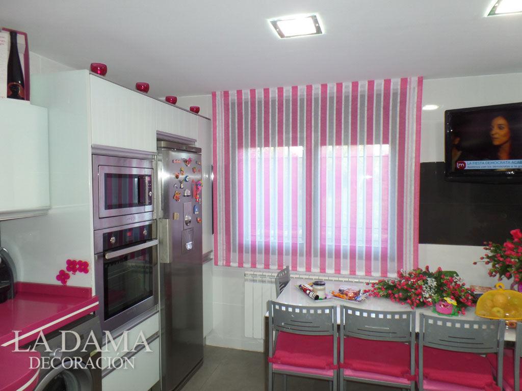 Visillos cocina rayas la dama decoraci n for Simulador cocinas online
