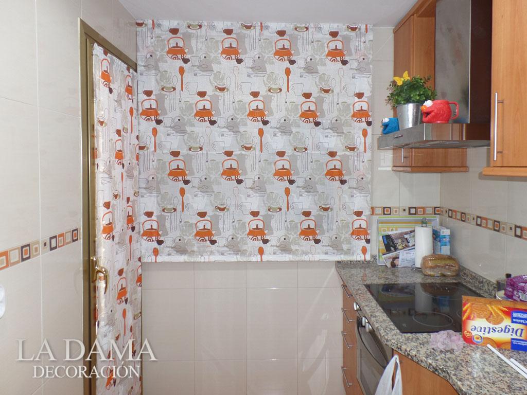 Estor para cocina naranja la dama decoraci n for Simulador cocinas online
